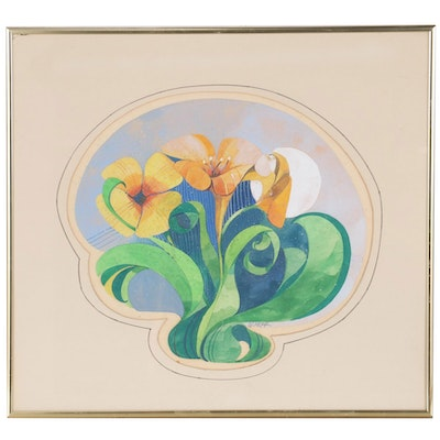 Abstract Watercolor Painting of Flowers