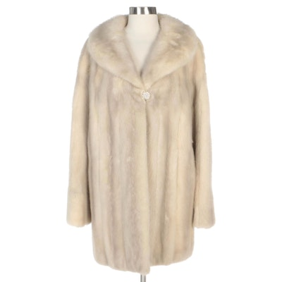 Mink Fur Coat with Shawl Collar and Embellished Button from Zenthoefer Furriers