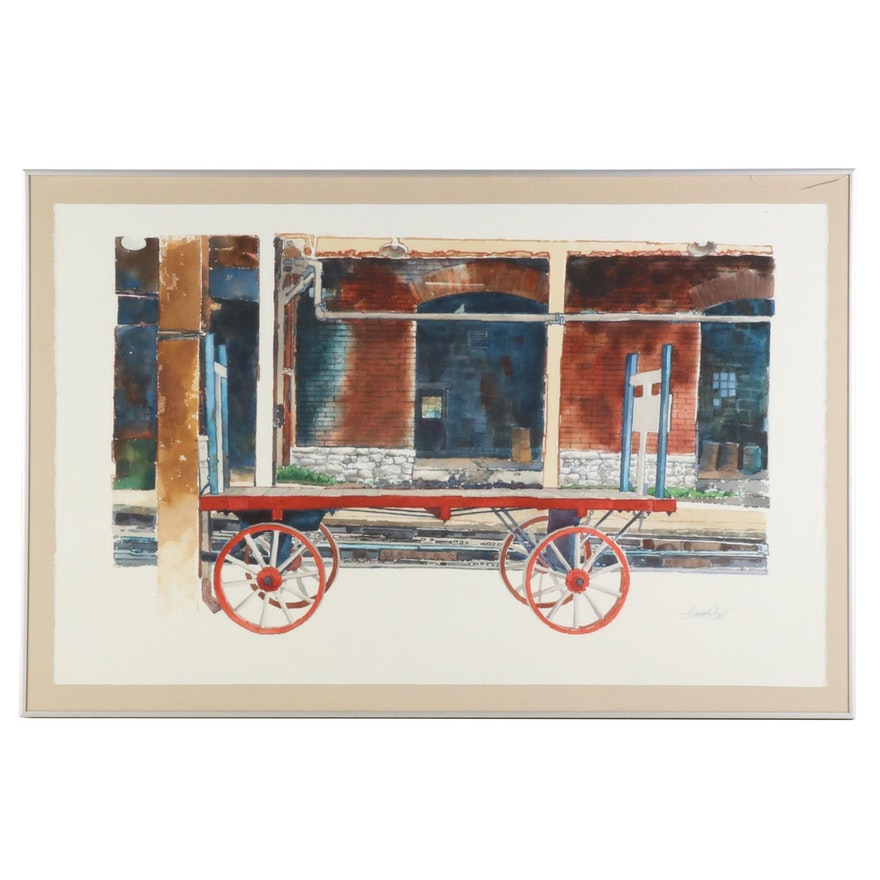"""Amos G. Gott Watercolor Painting """"Lost Baggage Cart,"""" Late 20th Century"""
