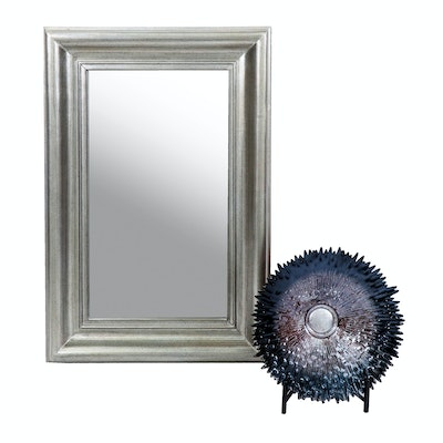 Bassett Silver Tone Wall Mirror with Contemporary Metallic Art Glass Bowl