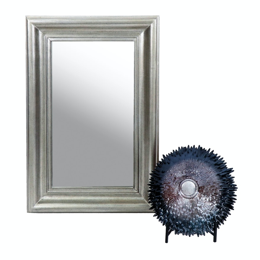 Bassett Silver Tone Wall Mirror with Contemporary Metallic Art Glass Bowl