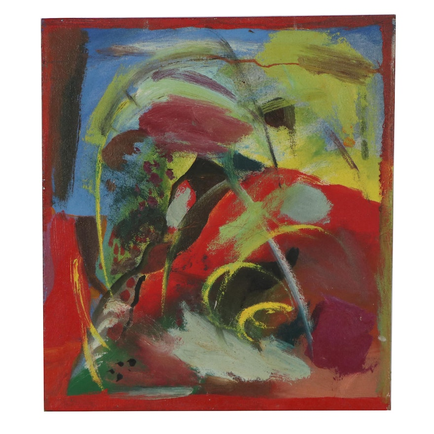 Chuck Barr Non-Objective Abstract Oil Painting, Late 20th Century