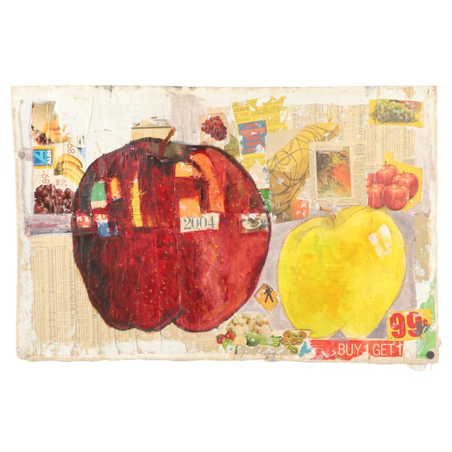 Mae Alice Engron Mixed Media Painting of Apples