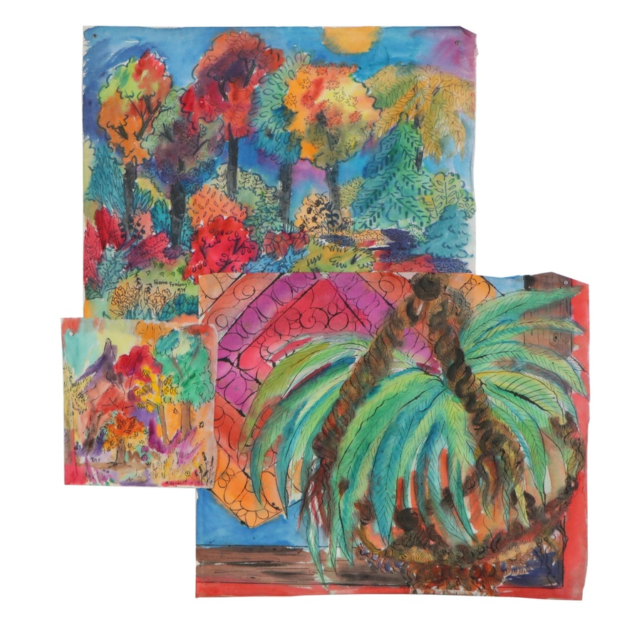 Roxene Feinberg Landscape Acrylic and Ink Painting