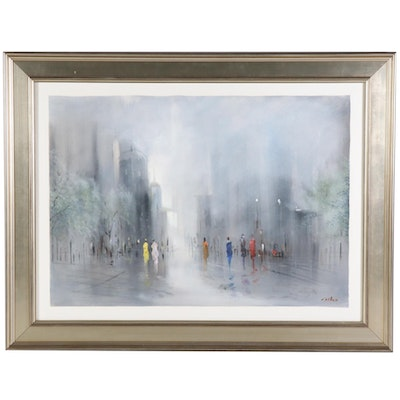 Modernist Style Oil Painting of Mist-Shrouded City Street
