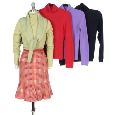 Brooks Brothers, Ann Taylor and Charter Club Turtlenecks with Etcetera Skirt