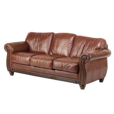 Robinson & Robinson Brass-Tacked Leather Sofa