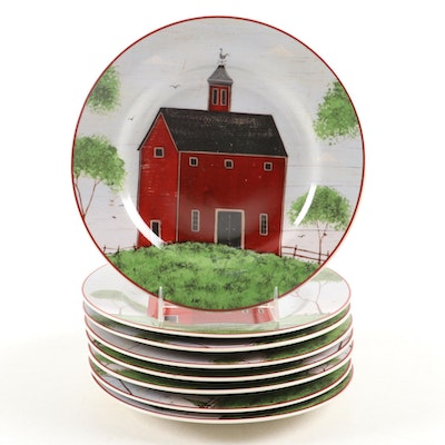 "Sakura ""Barns"" Salad Plates, Late 20th Century"