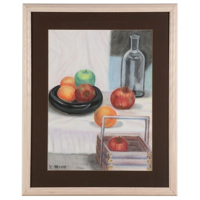 Still Life Pastel Drawing of Fruit and Bottle, Late 20th-21st Century