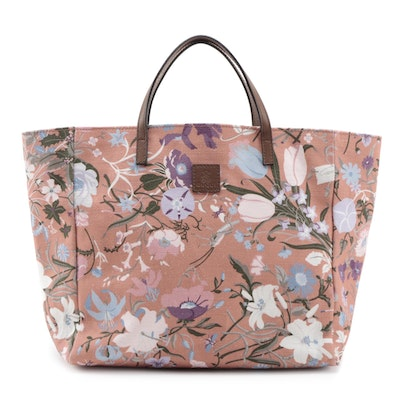 Gucci Children's Tote in Multicolor/Blush Floral Canvas with Brown Leather Trim