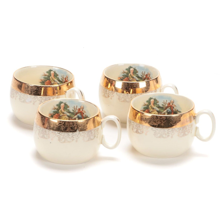 "Sabin ""Crest-O-Gold"" Porcelain Cups, Early 20th Century"