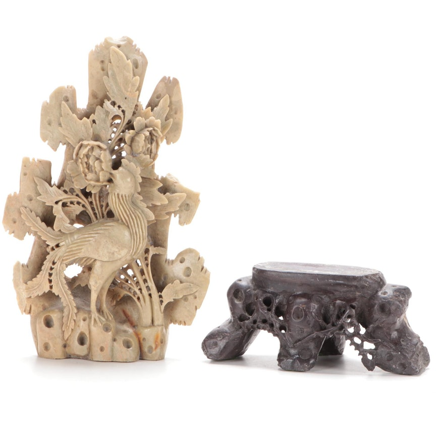 Chinese Soapstone Carving with Elaborate Base