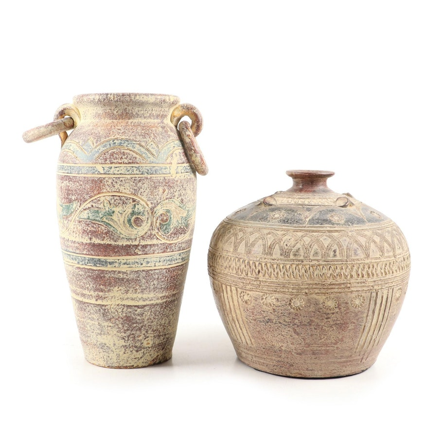 Early East Asian Style Reproduction Earthenware Amphora with Globular Vase