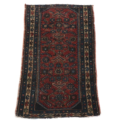 2'3 x 3'7 Hand-Knotted Persian Zanjan Wool Accent Rug, circa 1920s
