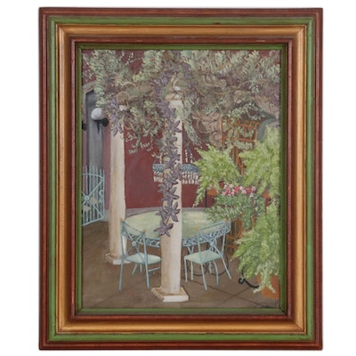 "Oil Painting of Courtyard Scene ""Summer,"" 2004"