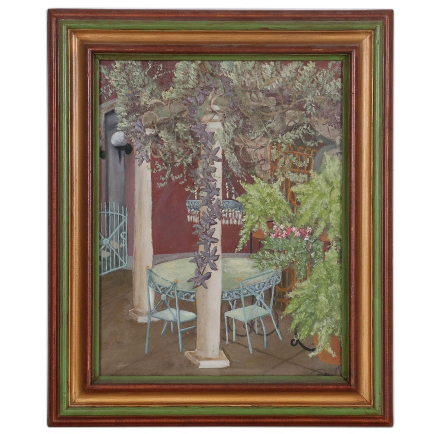 """Oil Painting of Courtyard Scene """"Summer,"""" 2004"""