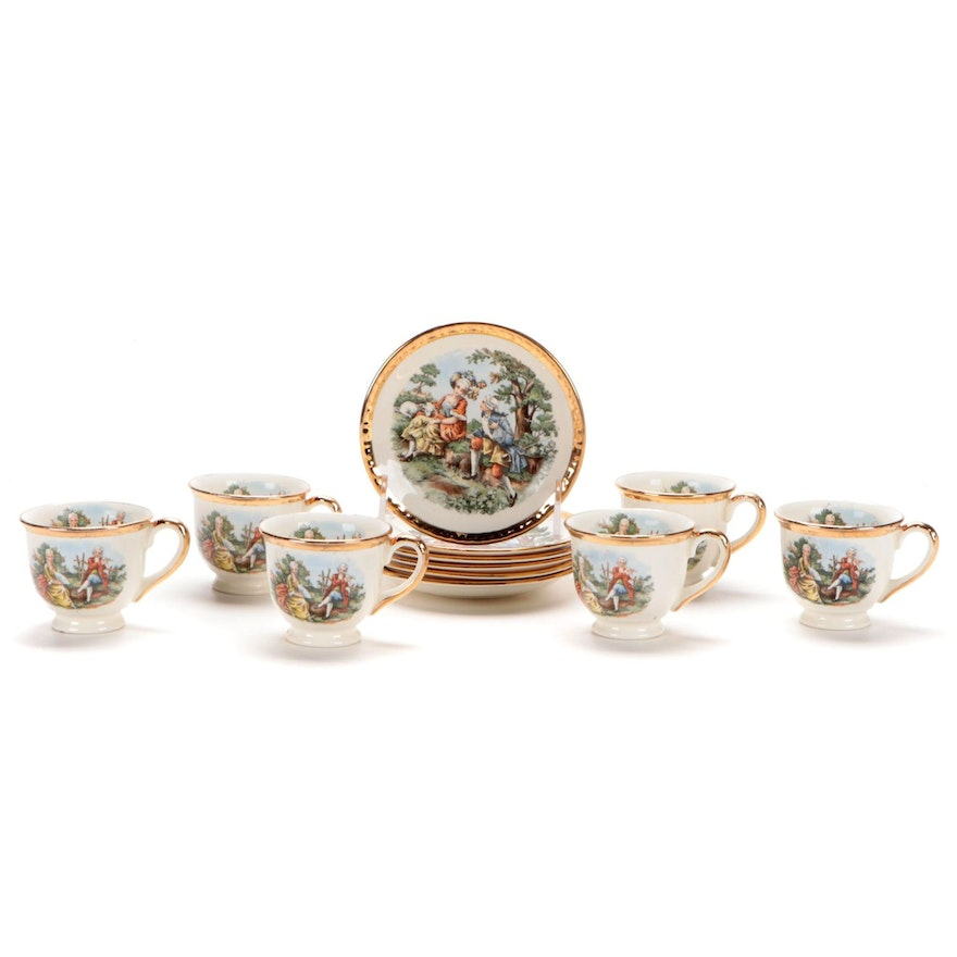 Hampton China Gold Rim Demitasse Cup and Saucers, Mid-20th Century