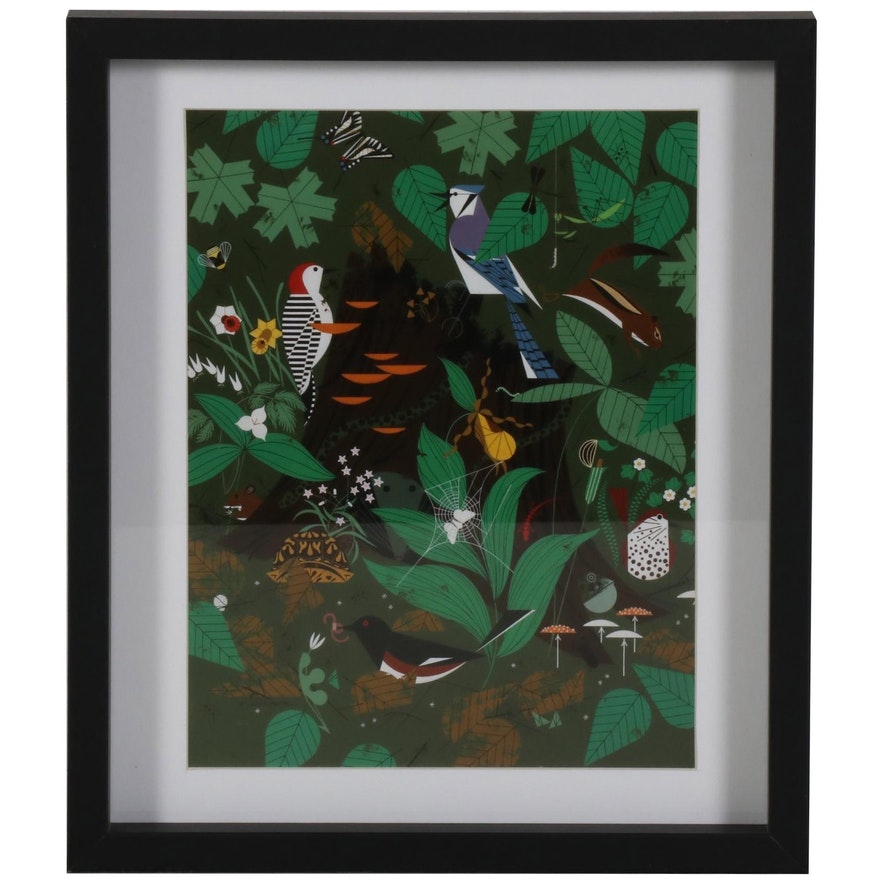 "Offset Lithograph after Charley Harper ""Woodland Wonders"""