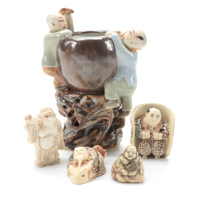 Celluloid Netsuke Beads with Chinese Ceramic Fertility Vase and More