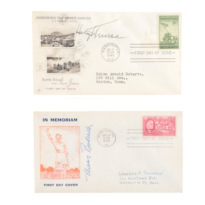 Eleanor Roosevelt and Harry S. Truman Signed 1945 First Day Covers,  Visual COA