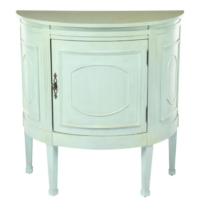 Distressed Painted Demilune Console Cabinet, 21st Century