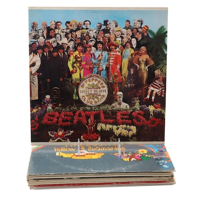 """The Beatles Vinyl Records Including """"A Hard Day's Night"""" and """"Yellow Submarine"""""""