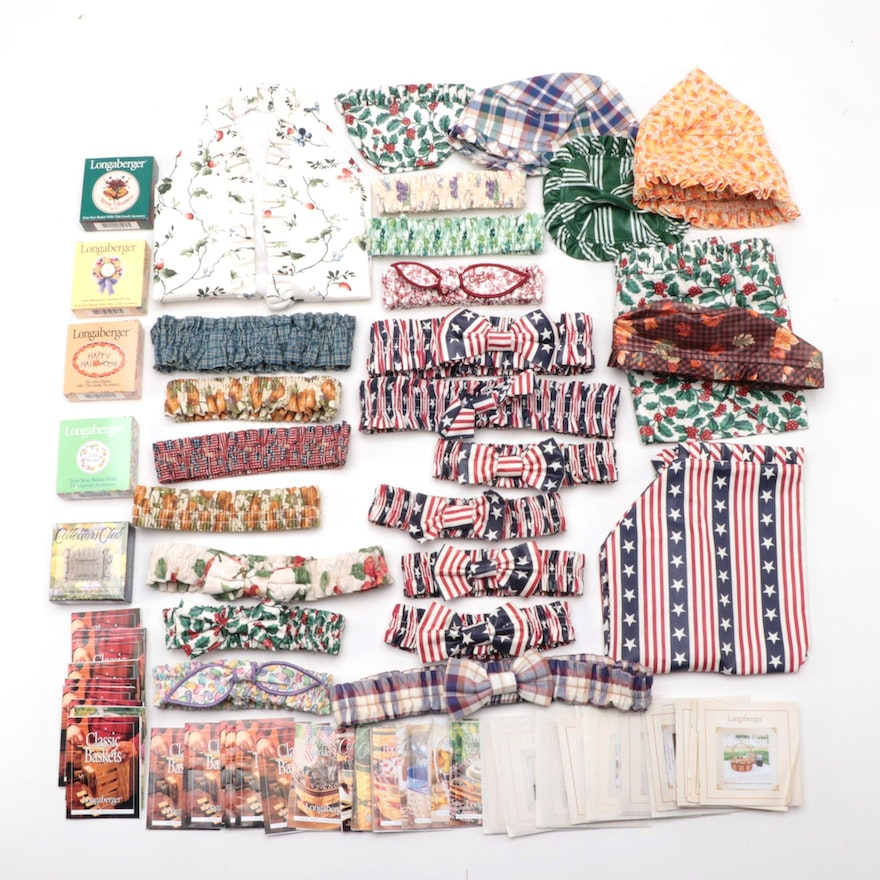 Longaberger Patterned Cotton Basket Liners, Garters and More