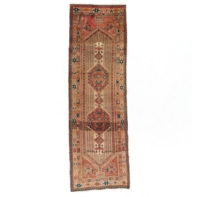 3'5 x 11' Hand-Knotted Northwest Persian Serab Long Rug, 1950s