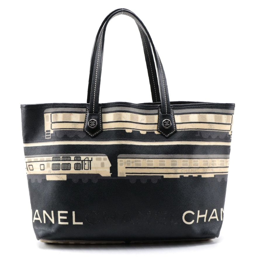 Chanel Le Train Coated Canvas and Leather Tote