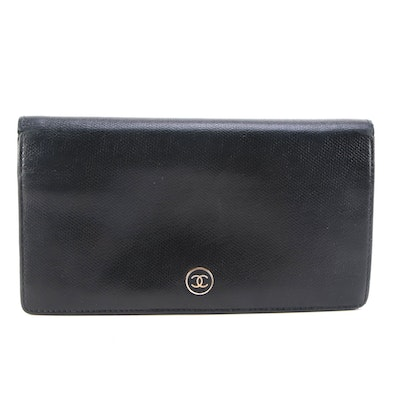 Chanel CC Bifold Long Wallet in Black Leather