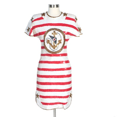 Laurence Kazar Sequined Silk Dress in Nautical Stars and Stripes Motif