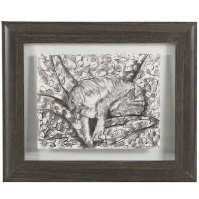 Michael J. Rosen Charcoal Drawing of Napping Cat