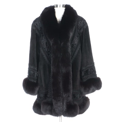 Lady Napoleon Fox and Swakara Fur Trimmed Black Suede Coat