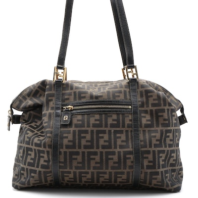 Fendi Weekender Bag in Zucca Canvas and Black Leather