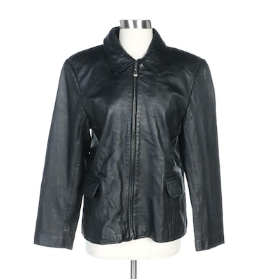 Casual Corner Black Leather Zipper-Front Jacket