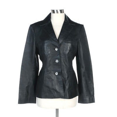 Philippe Adec Black Leather Button-Front Jacket