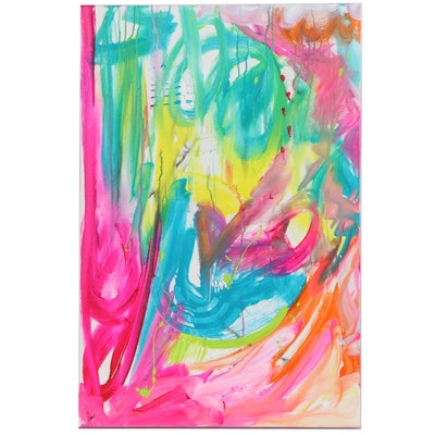 """Susan Crew Abstract Acrylic Painting """"Dolphin Delight 1,"""" 21st Century"""
