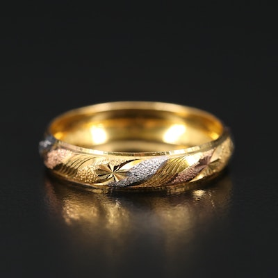 14K Yellow and White Gold Patterned Band