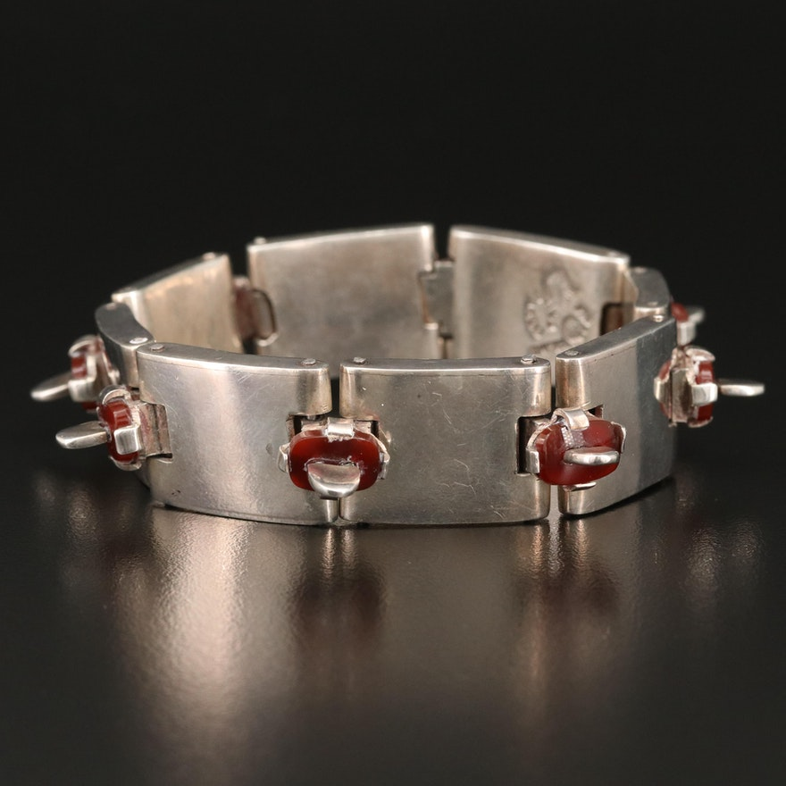 Antonio Pineda Sterling Silver and Sard Panel Bracelet