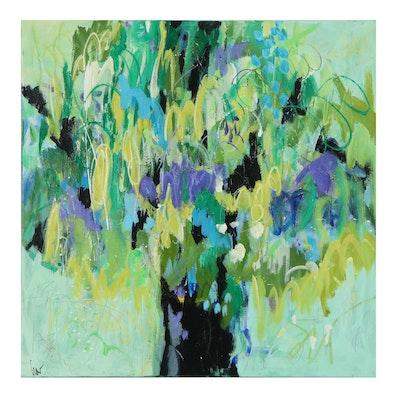 "Susan Crew Abstract Acrylic Painting ""Raintree 2,"" 21st Century"