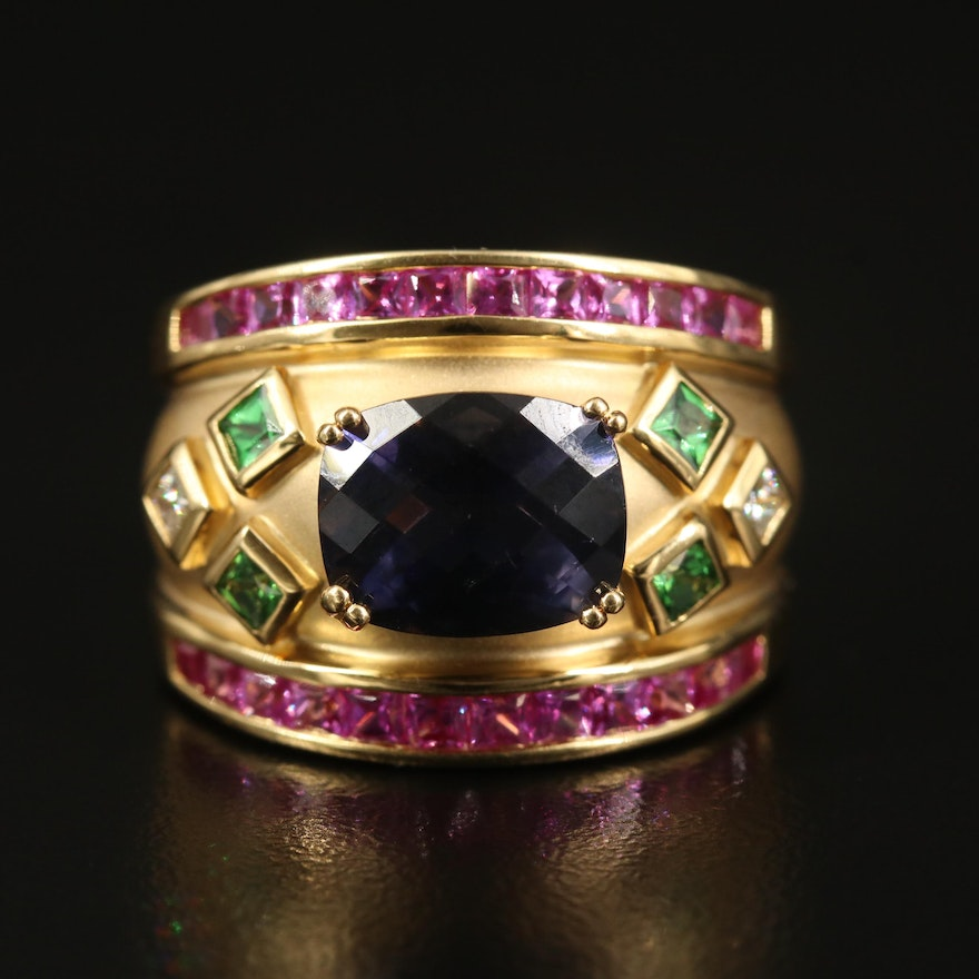 14K Iolite, Tsavorite, Diamond and Sapphire Ring