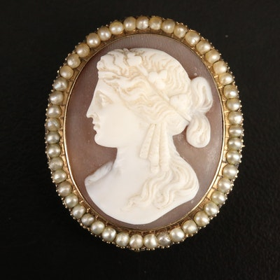 Antique 10K Sardonyx and Seed Pearl Cameo Converter Brooch