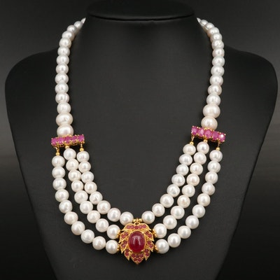 Sterling Silver Pearl and Corundum Festoon Necklace