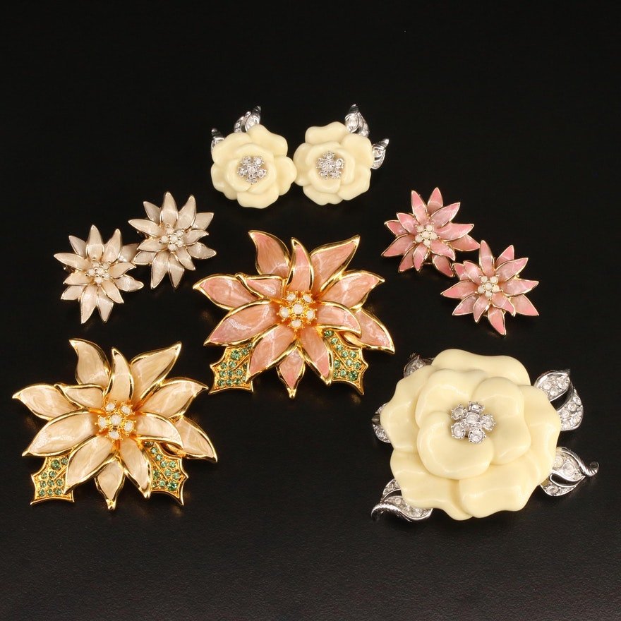 Nolan Miller Floral Brooches and Earrings