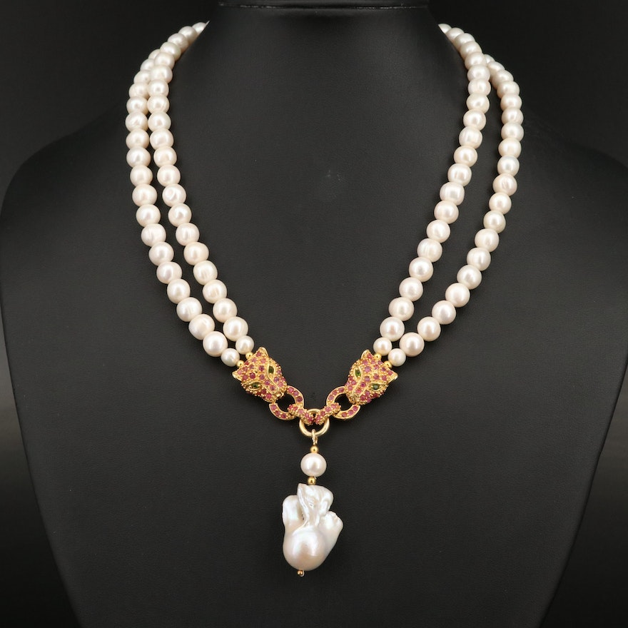 Sterling Pearl, Diopside and Ruby Feline Door Knocker Double Strand Necklace
