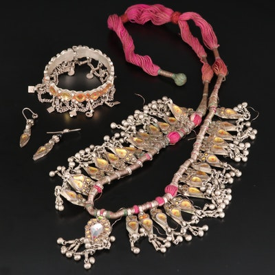 Indian Kundan Meena Jewelry Set Including Sterling Earrings