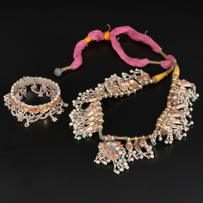 Indian Kundan Meena Jewelry Featuring 800 Silver Necklace