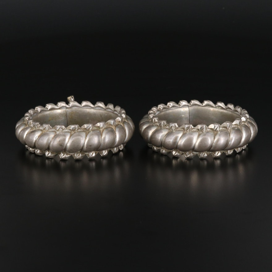 Vintage Indian Rajasthani Region Ribbed Ankle Bracelets