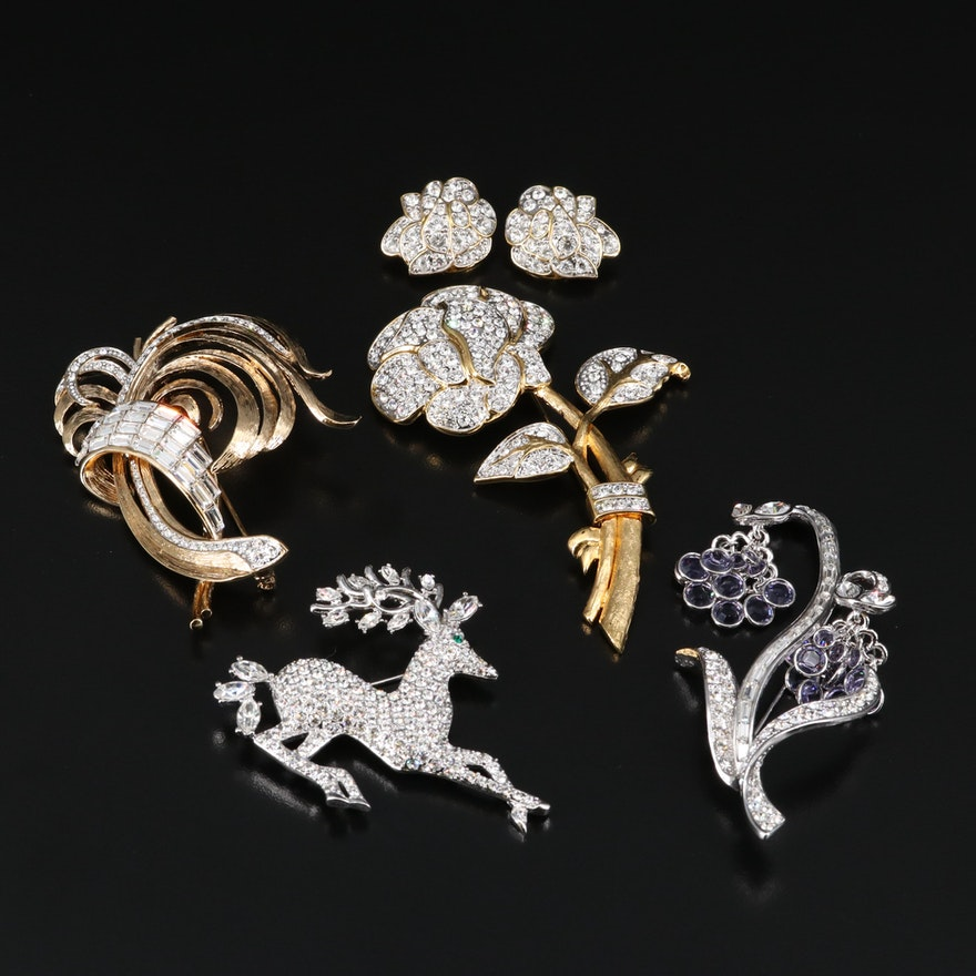 Nolan Miller Glamour Collection Glass and Cubic Zirconia Jewelry with Boxes