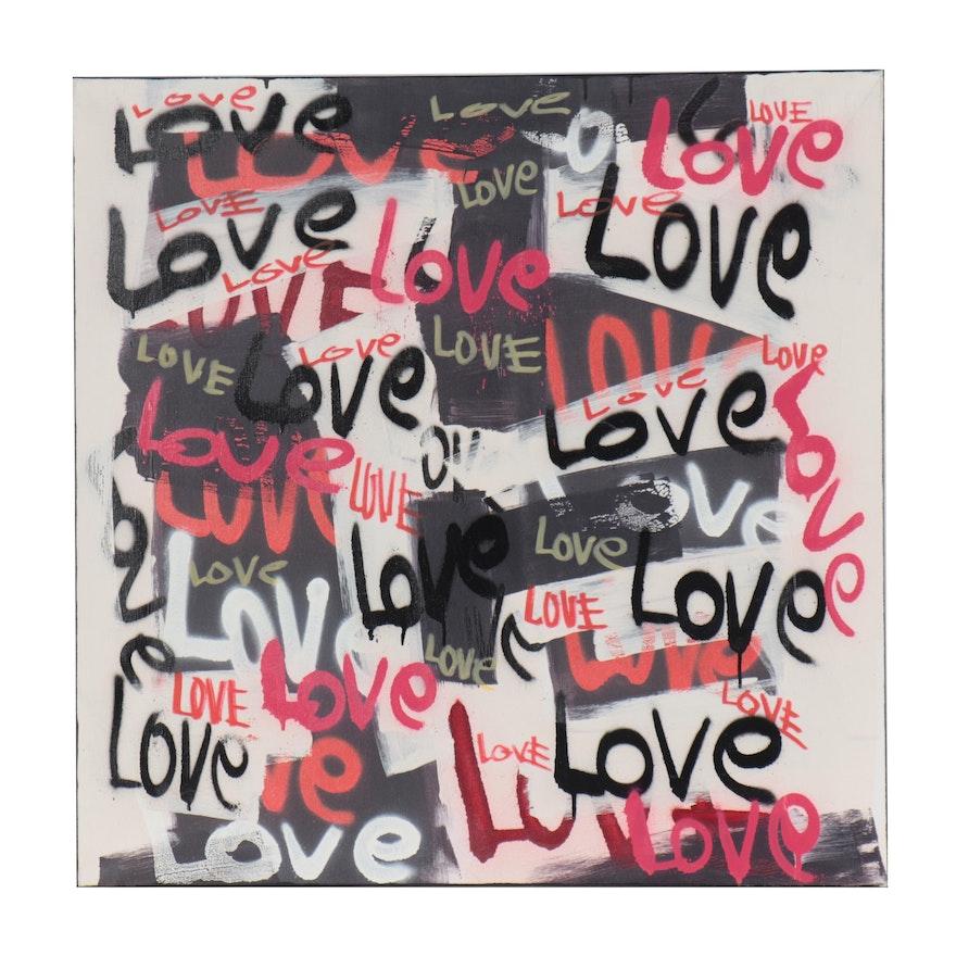 R.C. Raynor Graffiti Style Mixed Media Painting, 21st Century